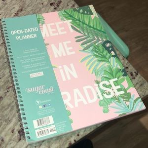 Open date palm leaf print planner